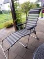 Garten Campingstühle blau - grau 2 Stück +Fussbank